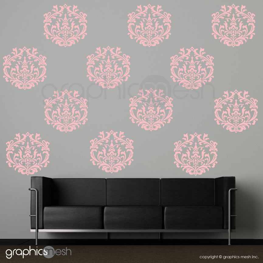 CLASSIC DAMASK MEDIUM SHAPES - Wall Decals - Sets of 6 or 12 powder pink
