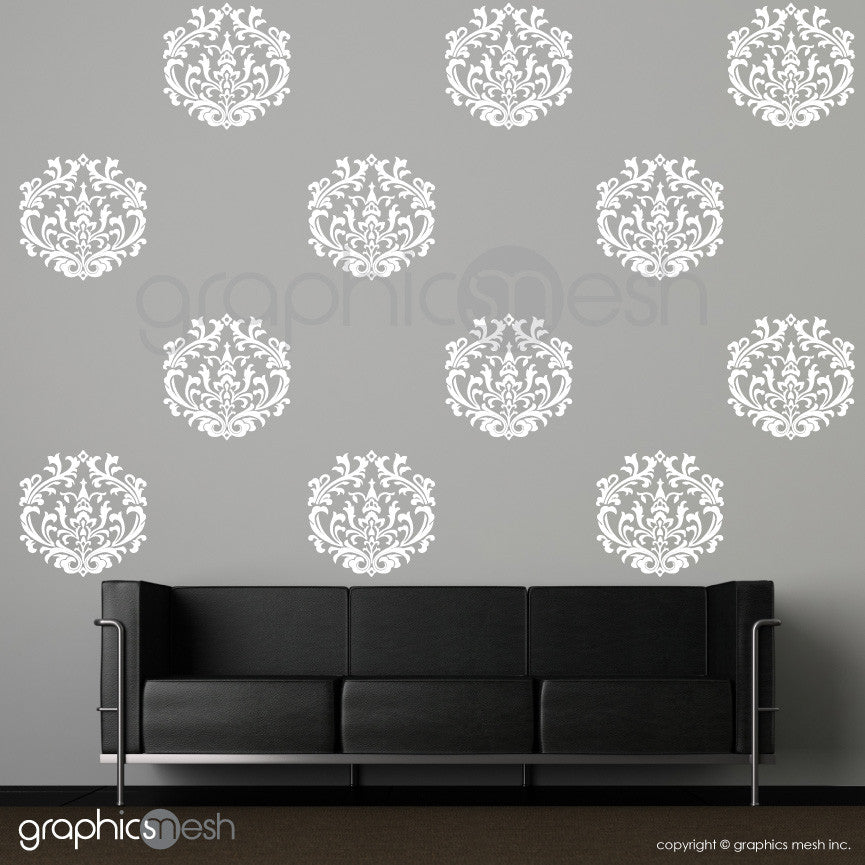 CLASSIC DAMASK MEDIUM SHAPES - Wall Decals - Sets of 6 or 12 white
