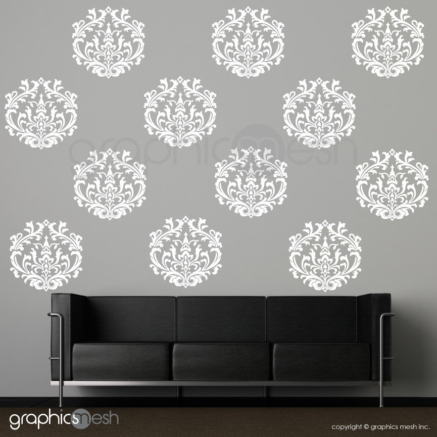 CLASSIC DAMASK MEDIUM SHAPES - Wall Decals - Sets of 6 or 12