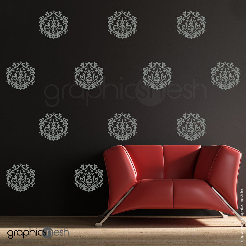 ... CLASSIC DAMASK SMALL SHAPES   Wall Decal Sets Grey ... Part 88