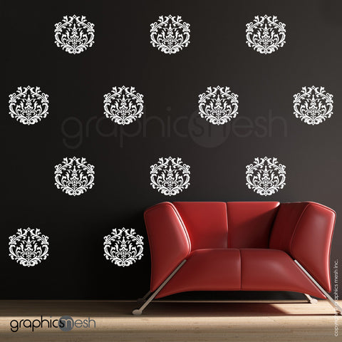 CLASSIC DAMASK SMALL SHAPES - Wall Decal Sets white on dark wall