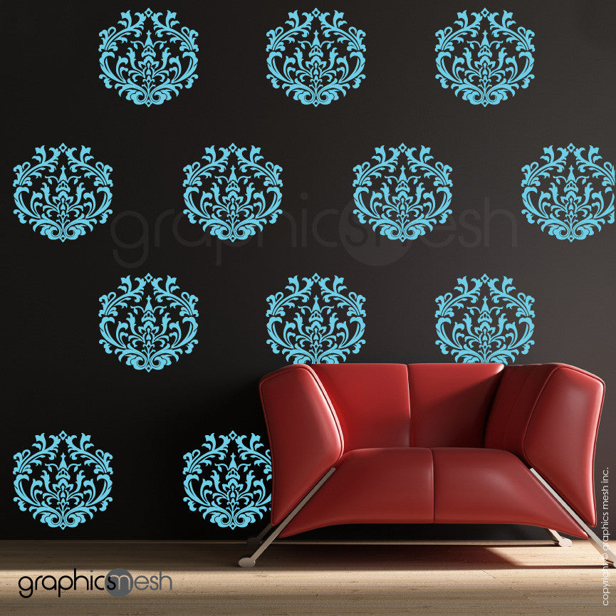 CLASSIC DAMASK SMALL SHAPES - Wall Decal Sets blue