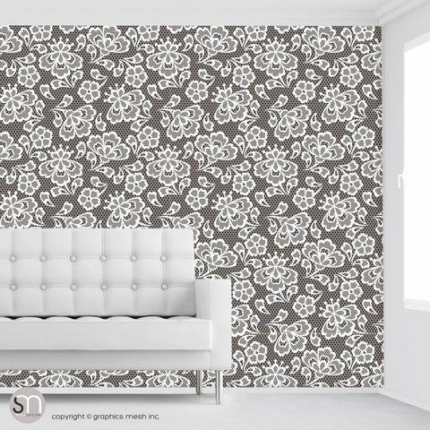Floral Embroidery in Darkness - Peel & Stick Abstract Wallpaper