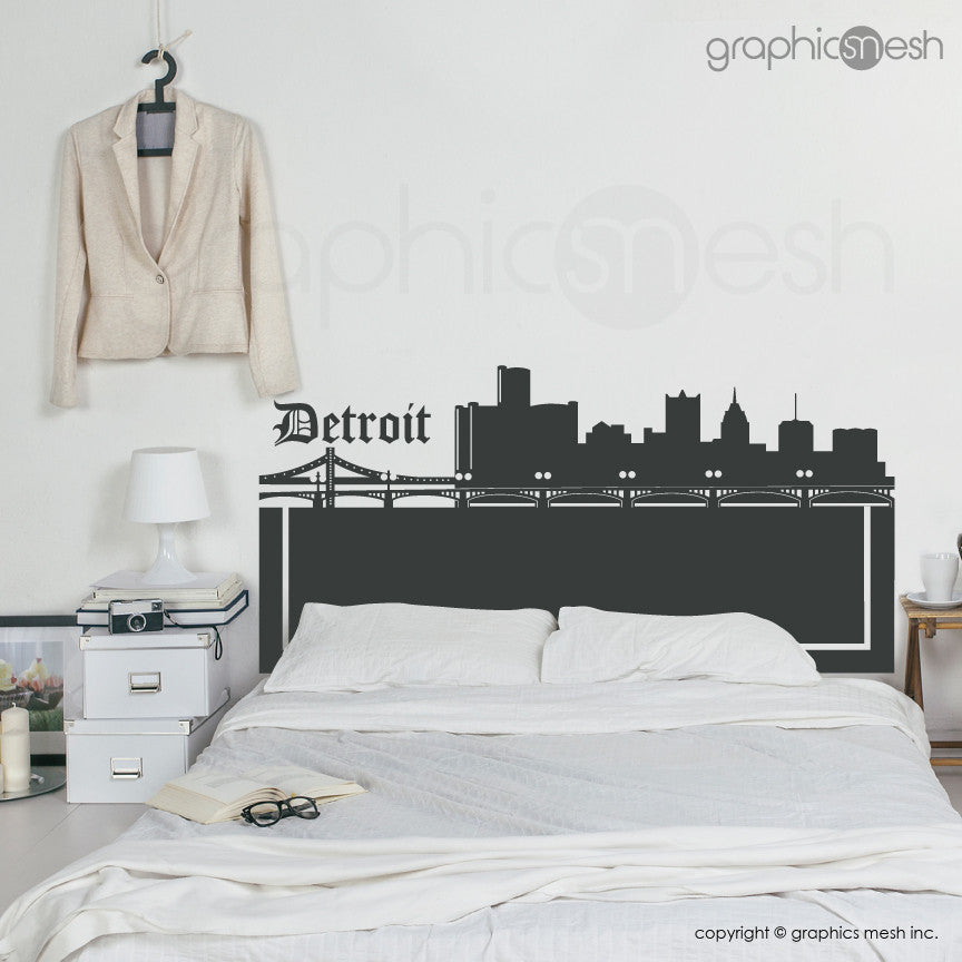 DETROIT MICHIGAN SKYLINE HEADBOARD - Wall Decals furniture