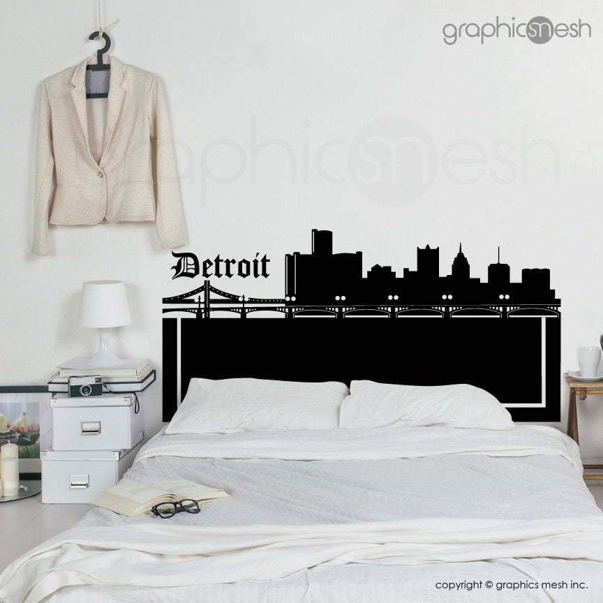 DETROIT MICHIGAN SKYLINE HEADBOARD - Wall Decals  black