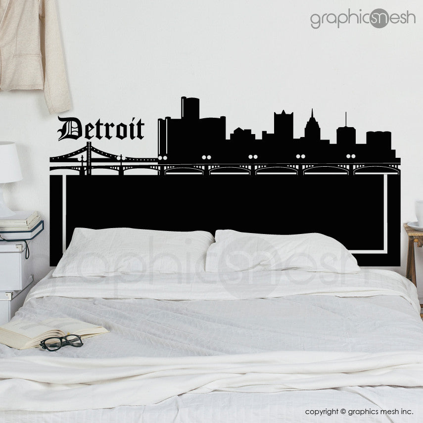 DETROIT MICHIGAN SKYLINE HEADBOARD - Wall Decals queen