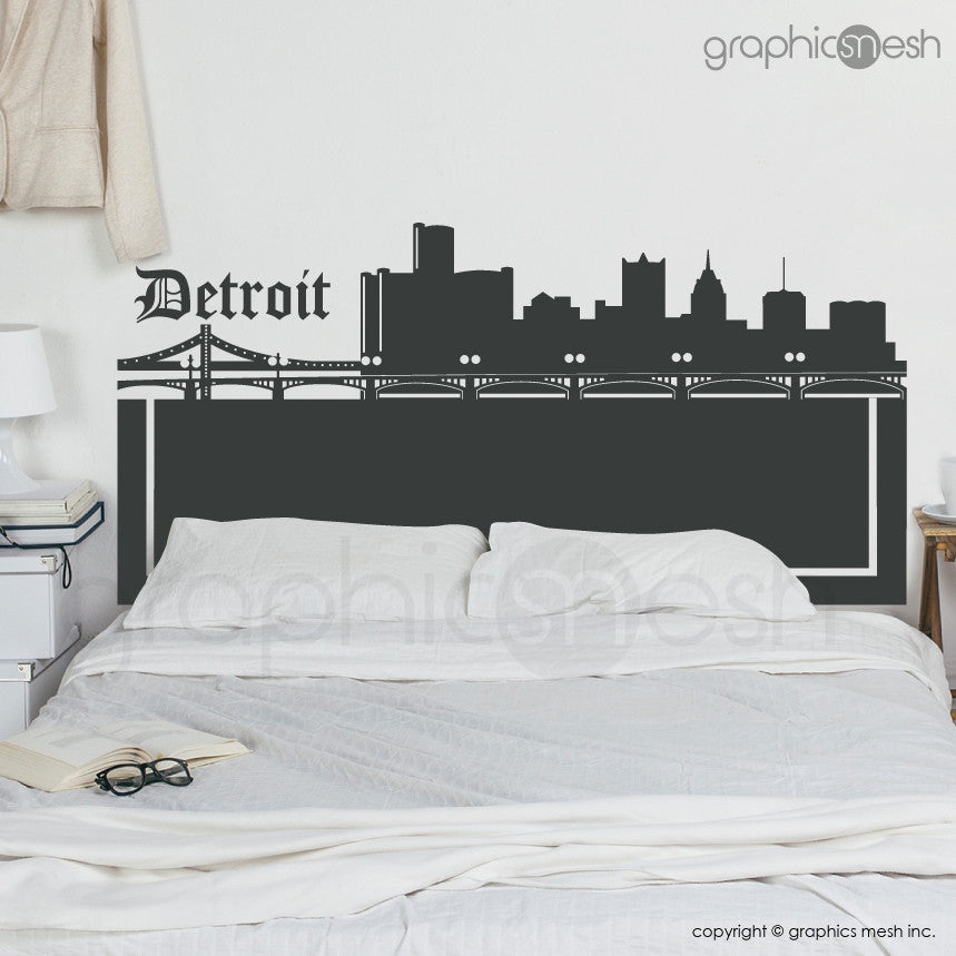 DETROIT MICHIGAN SKYLINE HEADBOARD - Wall Decals dark grey
