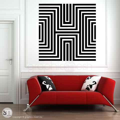 DIAMOND OPTICAL ILLUSION - Oversized Wall Decal black