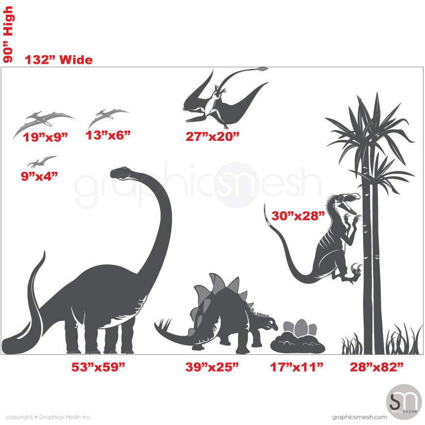 Dinosaur world Jurassic Park sizes