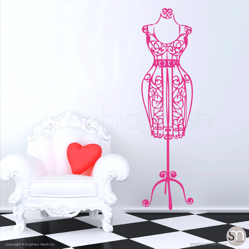 SILHOUETTE DRESS FORM decorative mannequin hot pink