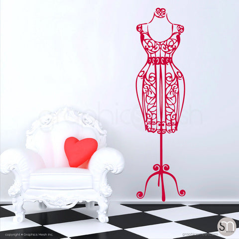 SILHOUETTE DRESS FORM decorative mannequin red