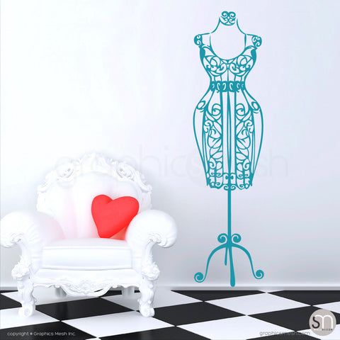 SILHOUETTE DRESS FORM decorative mannequin teal
