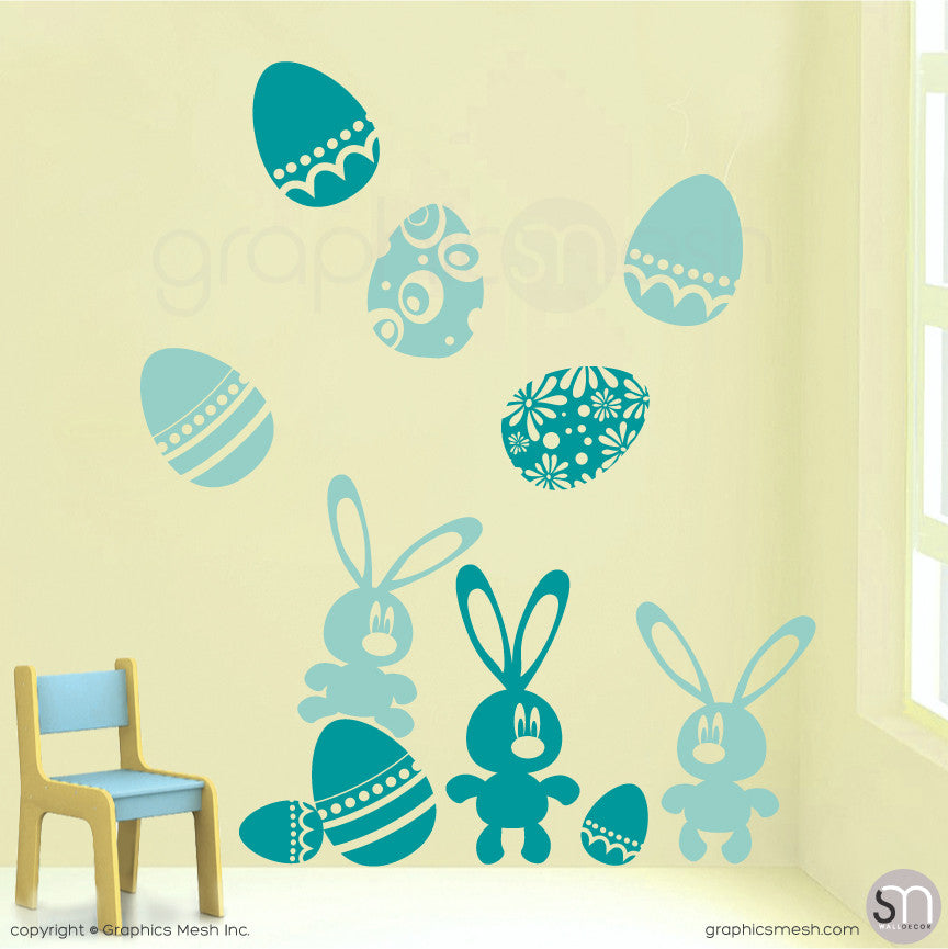 Easter bunnies and eggs in Ice Blue and Turquoise