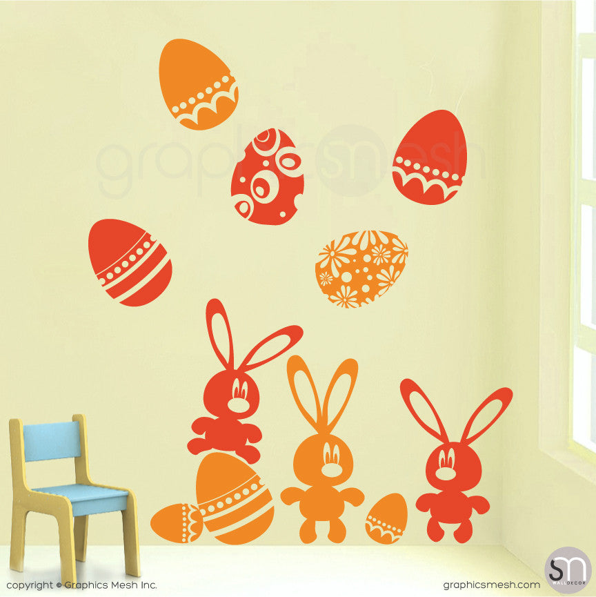 Easter bunnies and eggs in Golden Yellow and Orange