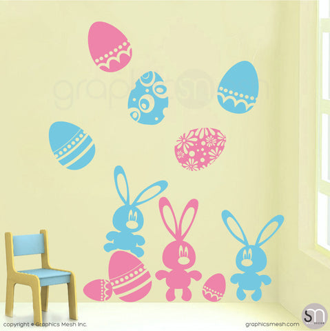 Easter bunnies and eggs in Pink and Sea Blue