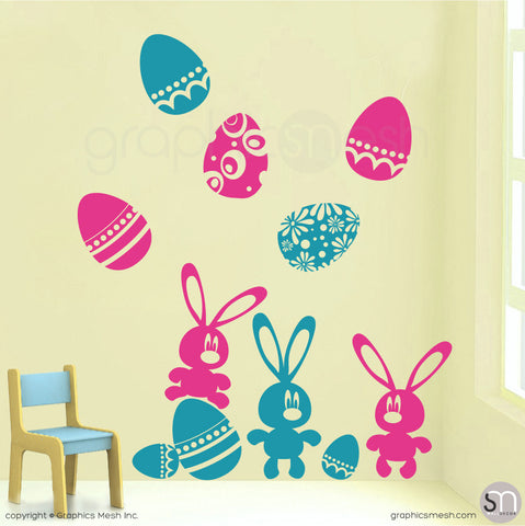 Easter bunnies and eggs in Hot pink and Light Blue