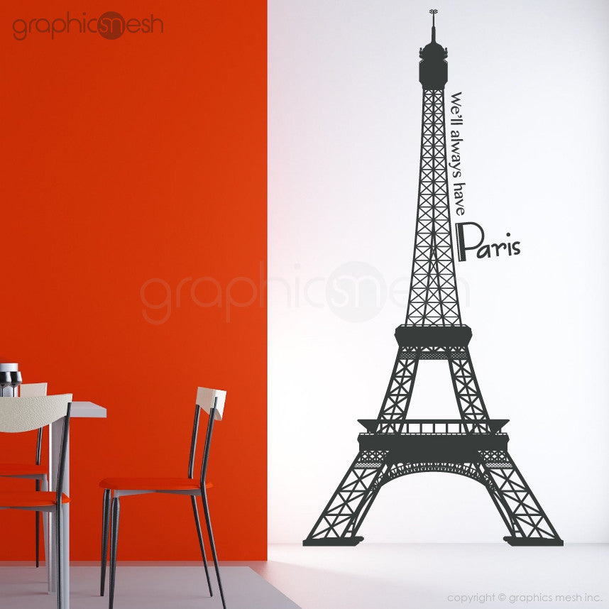 Eiffel Tower with quoote We'll always have paris wall decals Dark Grey
