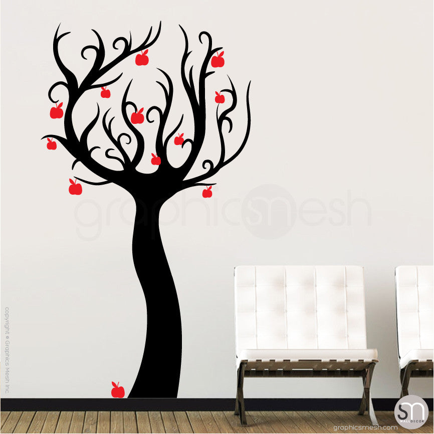 ENCHANTED APPLE TREE - Wall decals black and red  sc 1 st  GraphicsMesh & Enchanted apple tree wall decals - Art surface graphics | GraphicsMesh