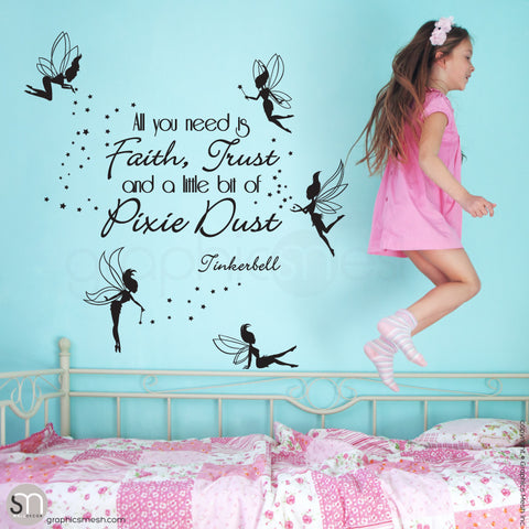 FAIRIES WITH QUOTE - Wall decal black