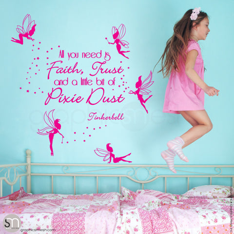 FAIRIES WITH QUOTE - Wall decal hot pink