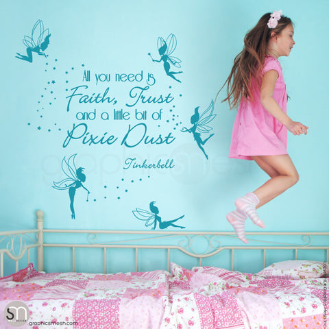 FAIRIES WITH QUOTE - Wall decal teal