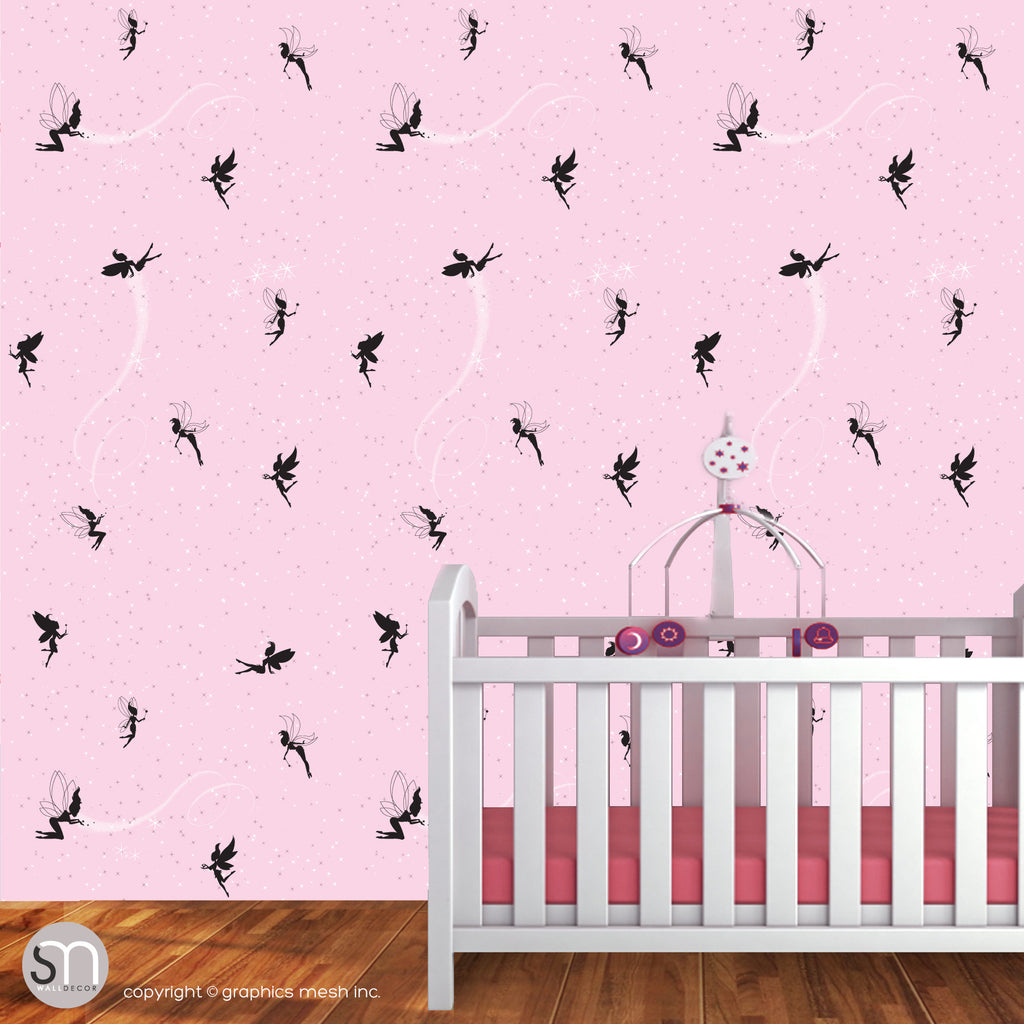 FAIRIES WITH MAGIC DUST in pink - Peel & Stick Wallpaper