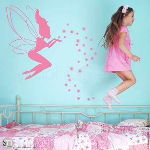 FAIRY WITH MAGIC DUST - Wall decal pink