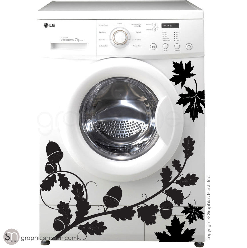 FALL LEAVES WASHER DECOR black decals