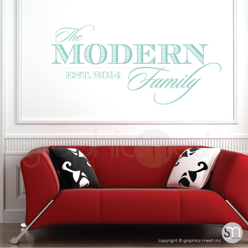 THE MODERN FAMILY NAME & ESTABLISHED DATE - Personalized  Mint Wall decals