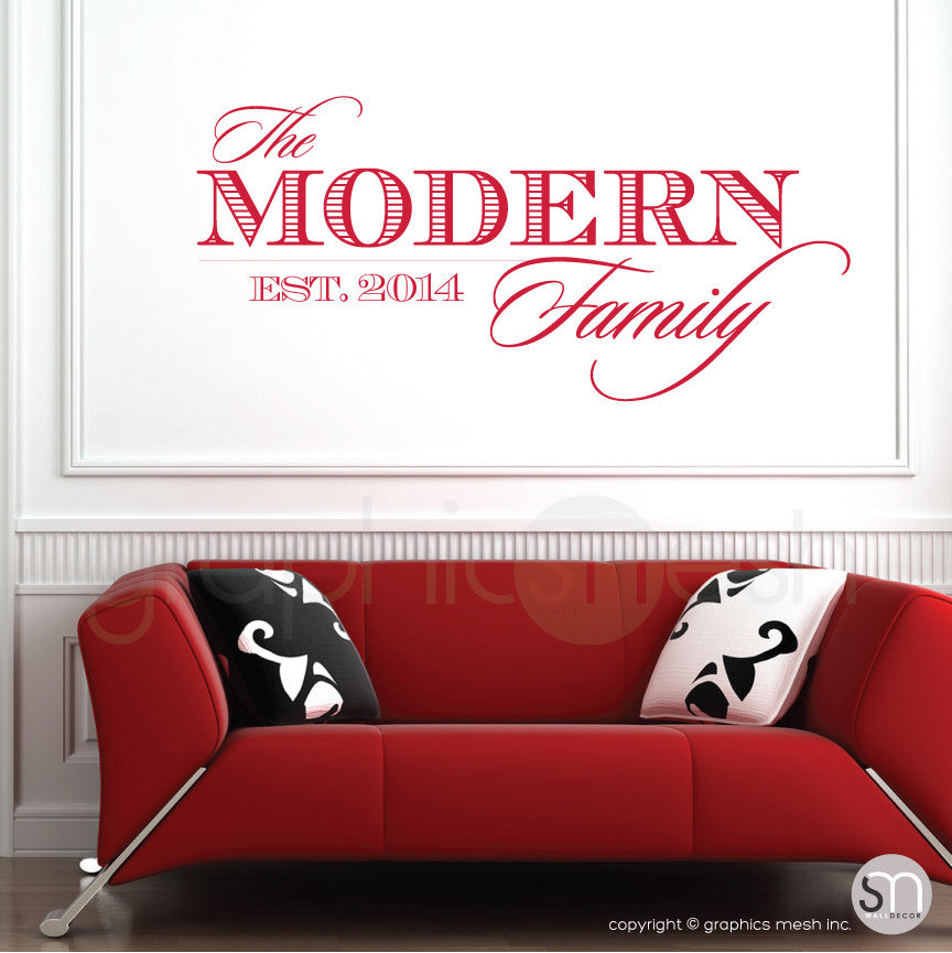 THE MODERN FAMILY NAME & ESTABLISHED DATE - Personalized Red Wall decals
