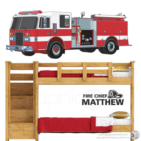 Fire Chief Personalized Name & Fire Truck - Wall decals large black