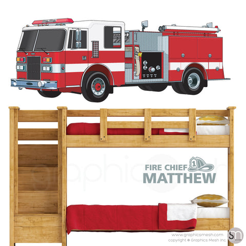Fire Chief Personalized Name & Fire Truck - Wall decals large grey