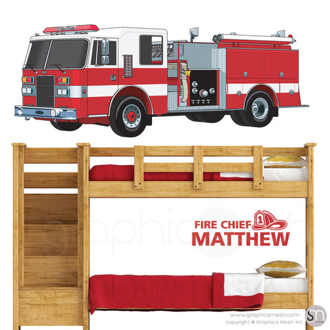 Fire Chief Personalized Name & Fire Truck - Wall decals large red
