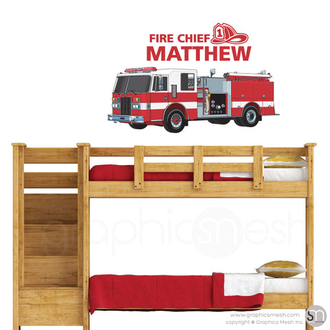 Fire Chief Personalized Name & Fire Truck - Wall decals medium