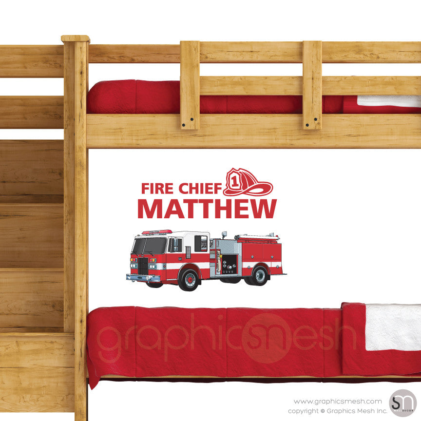 Fire Chief Personalized Name & Fire Truck - Wall decals small