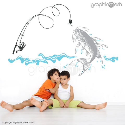 Fishing Scene: Huge fish, fishing rod & water - Wall Decals grey and blue