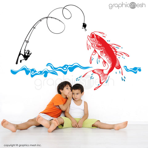 Fishing Scene: Huge fish, fishing rod & water - Wall Decals red fish