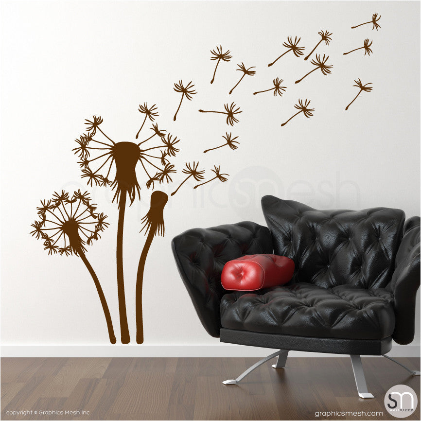 THREE DANDELIONS - wall decals brown