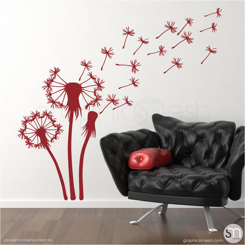 THREE DANDELIONS - wall decals dark red