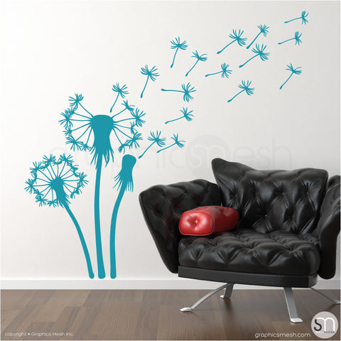 THREE DANDELIONS - wall decals teal