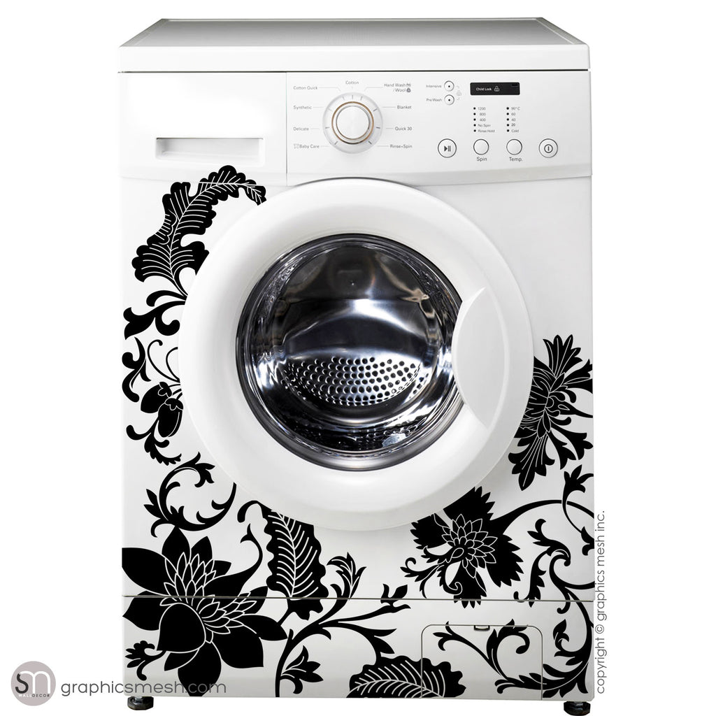 FLORAL WASHER DECOR - Domesticated Wall Decals black