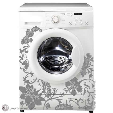 FLORAL WASHER DECOR - Domesticated Wall Decals grey