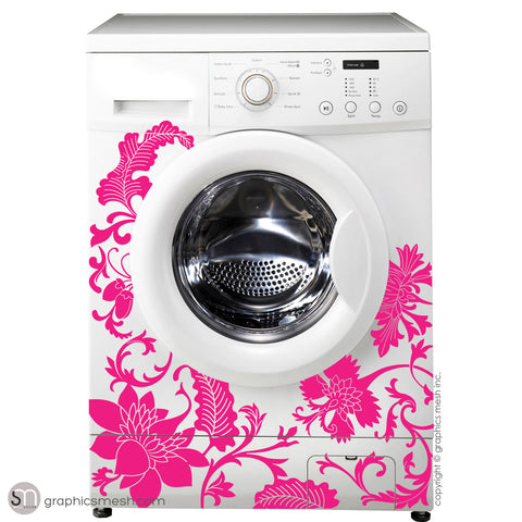 FLORAL WASHER DECOR - Domesticated Wall Decals hot pink