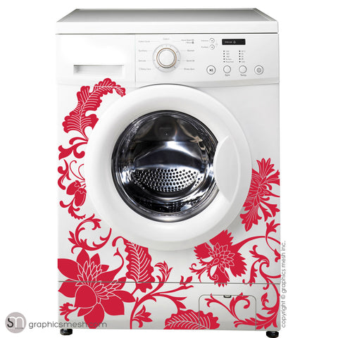 FLORAL WASHER DECOR - Domesticated Wall Decals red