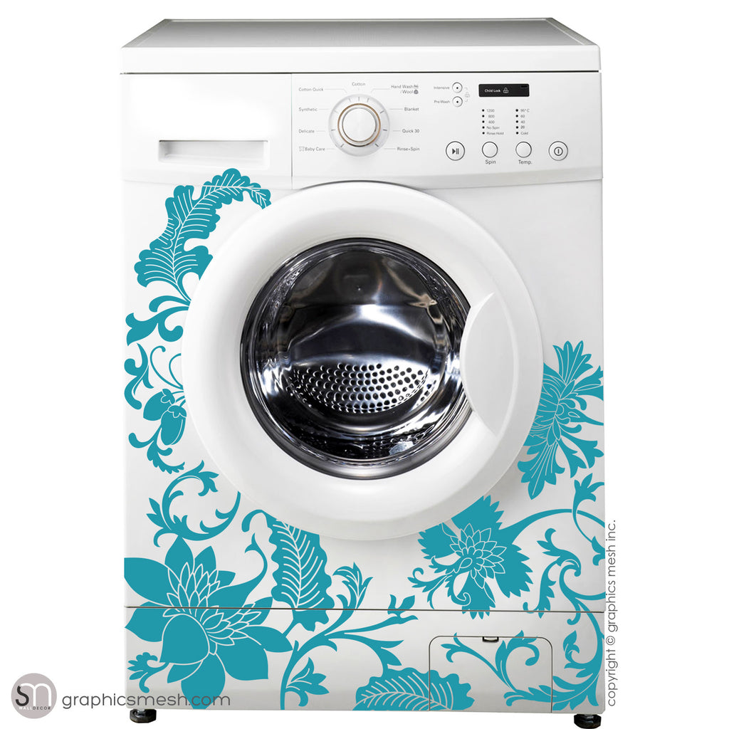 FLORAL WASHER DECOR - Domesticated Wall Decals turquoise