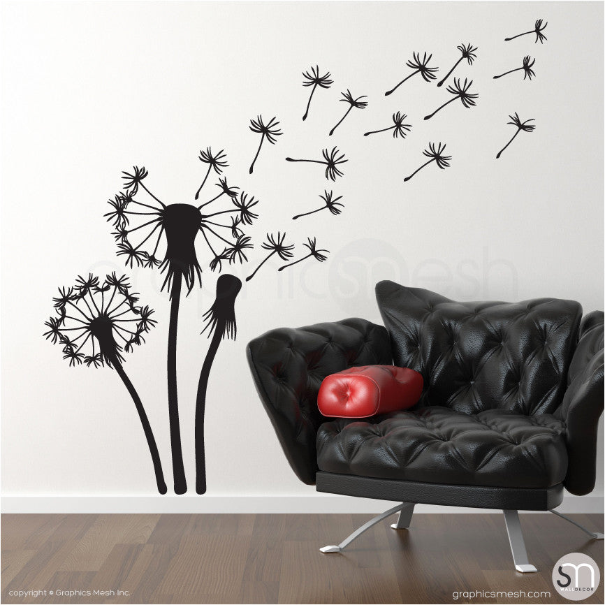THREE DANDELIONS - wall decals black