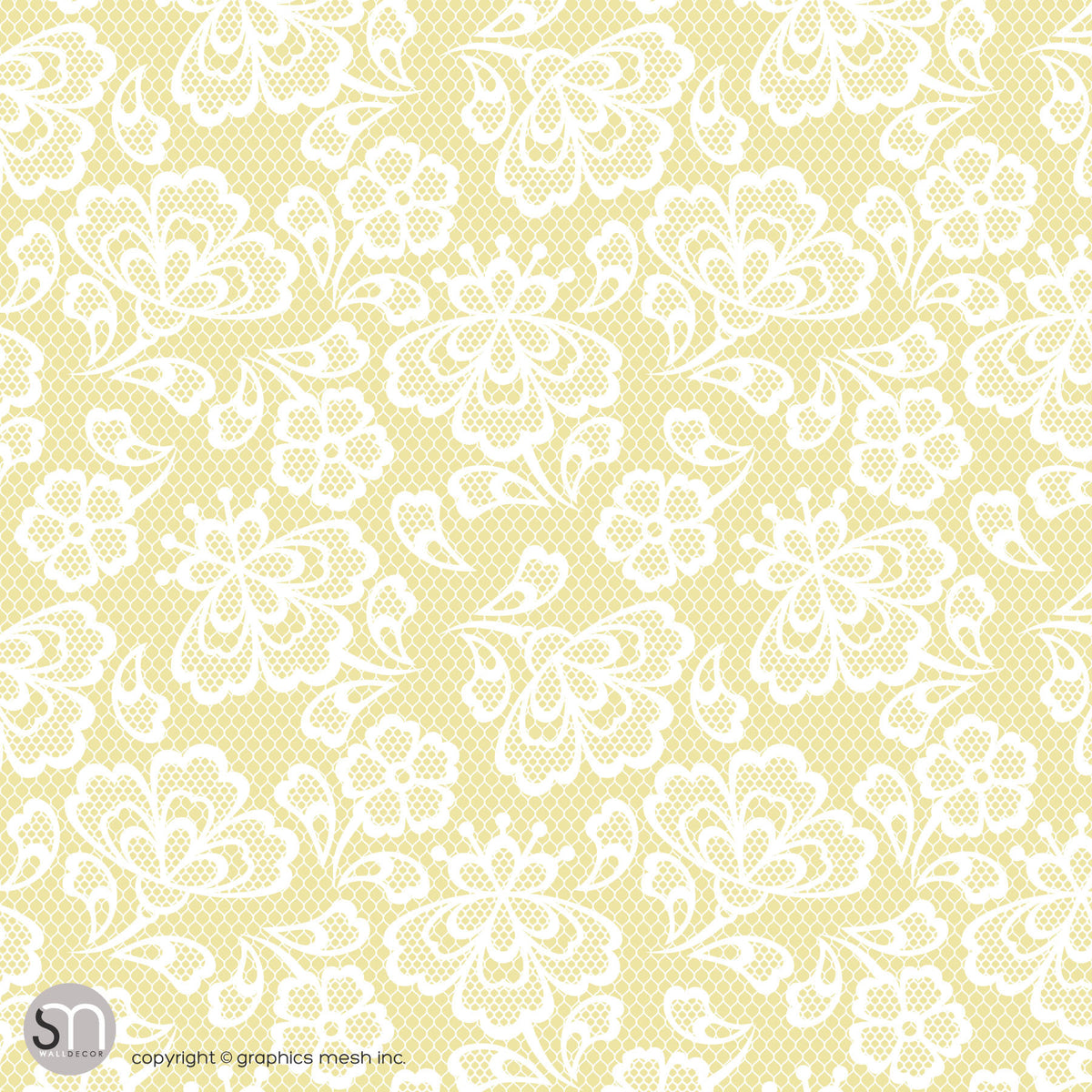 Floral Embroidery In Mellow Yellow Peel Stick Abstract