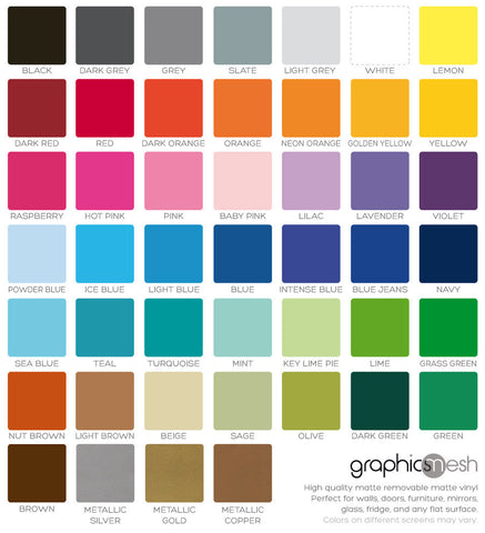 Removable matte wall decals color chart