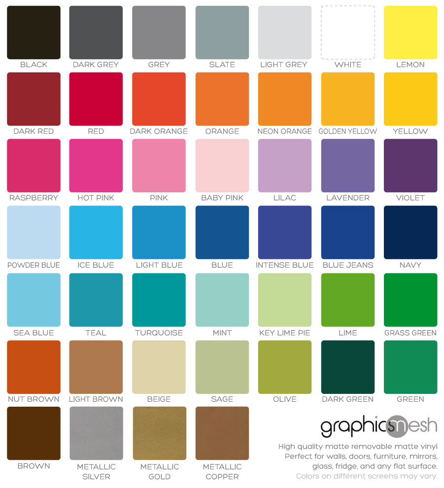 Vinyl decal color chart