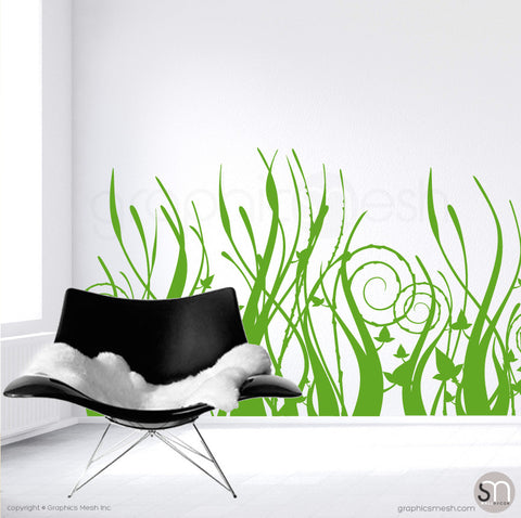 TRIBAL GRASS - Wall Decals Lime